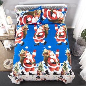 2 piezas de estilo americano y europeo Juego de sábanas Santa Clause Una funda nórdica y dos fundas de almohada Fundas de cama tamaño Twin Textiles para el hogar GC004
