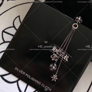 Popular marca de moda 925 STERLING PLATA Estrella Cruzada Borla Pendientes para Las Mujeres Regalo de Aniversario de Boda Joyería de Lujo con caja