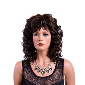 Xiu Zhi Mei Heißer Verkauf Brown Curly Synthetische Perücken mit Pony Afro Naturhaar Volle Mittel Ombre Perücke für Frauen