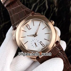 A buon mercato Nuovo 8 colori Octo Finissimo 103035 quadrante bianco automatico orologio da uomo cassa in oro rosa cinturino in pelle marrone da uomo orologi di alta qualità