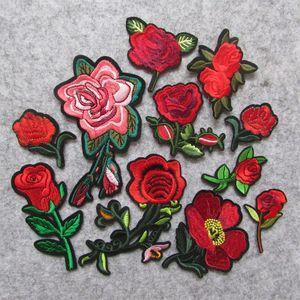 moda Rose Flowers parch Hierro bordado en parches para ropa DIY Motif Stripes Clothes Stickers Custom Badges