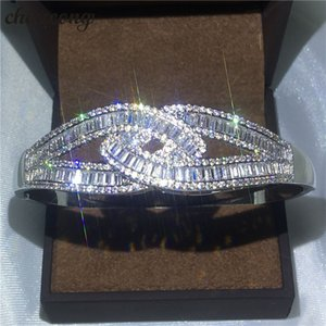 Choucong Brazalete de diseño cruzado Diamante S925 Compromiso de plata esterlina Brazalete de boda para mujer Regalo Accessaries de la moda