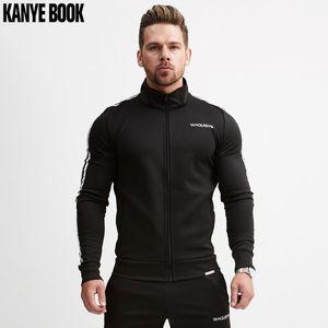 Nuovo stile 2018 Autunno Inverno europeo e americano Fitness Stripe Zipper anteriore Felpe con cappuccio adatto a sport da uomo in esecuzione