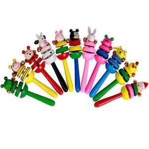 Chocalho Animal Dos Desenhos Animados Do Bebê Dos Miúdos Handbells Musical Developmental Brinquedo de Madeira Bed Bells Infantil Jardim de Infância Brinquedos Educativos