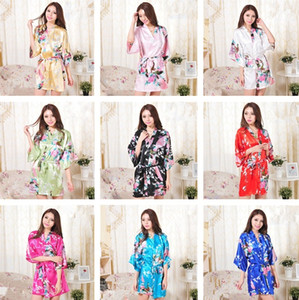 New 14 Colors S-XXL Sexy Women's Japanese Silk Kimono Robe Pajamas Nightdress Sleepwear Broken Flower Kimono T2I245