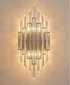 Moderno Breve Luces de pared Sala de estar Mesita de noche Breves Lámparas de pared Arte creativo Pasillo Lámpara de pared de cristal LED Aplique LLFA