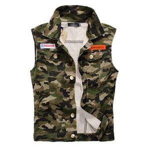 DIMUSI Hommes Denim Gilet Sans Manches Lavés Jeans Armée Militaire Gilet Homme Cowboy Camouflage Veste Plus La Taille 4XL, YA215