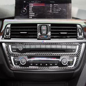 7pcs Karbon Elyaf Şekillendirme Orta Konsol Klima Çıkışı Trim Sticker Araç İç Aksesuar için BMW 3 Serisi F30
