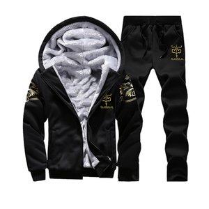 Quente homens Treino Set Hoodie do inverno do velo Zipper camisola e calças Casacos Brasão survêtement Homme fato de treino