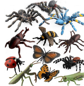 12 adet / takım Simülasyon hayvan figürleri böcekler Arı web örümcek kelebek gergedan böceği uğur böceği çekirge modeli çocuk oyuncakları hediye