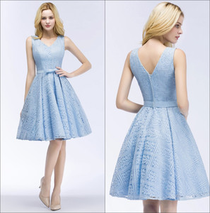 Light Sky Blue Lace Homecoming Dresses V Neck Short A Line Formal Party Cocktial Prom Dresses CPS916