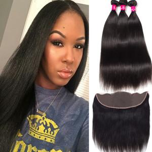 8А перуанские Малазийские монгольской Бразильский Девы волос 3 Связки с 13X4 уха до уха Кружева Фронтальная Закрытие 100% Необработанные Human Плетение волос