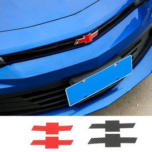 Автомобиль Передняя поперечина задней эмблемы Украшение из углеродного волокна зерна наклейки для Chevrolet Camaro 2017 Up Car Styling Внешние аксессуары