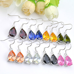 Luckyshine 2 PC-Los Birnenförmige Morganite Garnet Citrine Ohrringe 925 Sterling Silber Plater Frauen Zircon Ohrringe Marken Fashion Jewelry