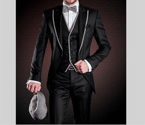 Fashion Black 3 Piece Suit Groom Tuxedos Peak Lapel One Button Bridegroom Wedding Suit Men Prom Dinner Blazer(Jacket+Pants+Tie+Vest) 432