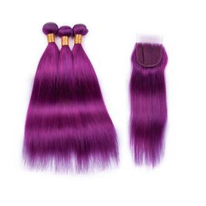 #purple capelli di colore puro 3 bundles con chiusura in pizzo 4 pz / lotto brasiliana di colore viola serico capelli lisci chiusura con i capelli tesse