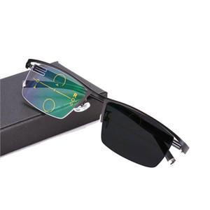 نظارة القراءة الانتقالية الفوتوكرومية التقدمية متعددة التركيز No Line Gradual + Rx Farsighted Sunglasses 0 to +400 by Increments of 25
