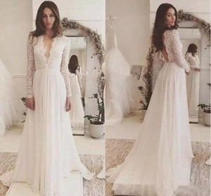 2018 Long Sleeve Plus Size Wedding Dresses Simple Cheap Applique Lace Chiffon V-neck Backless Sweep Train Beach Wedding Gown
