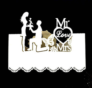 Mr Mrs Bride Groom Laser Cut Nome Luogo Cards Wedding Party Table Luogo Cards Decor Greeting Card
