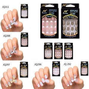 24 шт. Потрясающие конструкции Французские ложные ногти ABS смола Поддельный набор ногтей Полный артикурен
