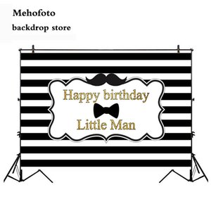 wholesale Happy Birthday Little Man Photography Backdrop White and Black Stripe Photo Background Mustache Newborn Baby Party 927