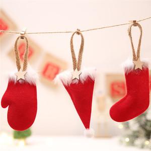 Christmas Pendant Cartoon Sock / Hat / Glove Shape Xmas Tree Drop Ornaments Borsa regalo calza per bambini Decori scuola domestica
