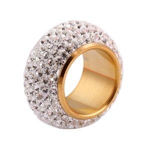 Atacado brilhando cheia Rhinestone Anéis de dedo para Mulher Parágrafo Luxurious Moda de Nova Antique Gold -Color