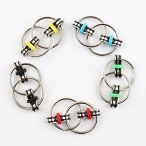 Key Ring Fidget Spinner Gyro Hand Spinner Metal Toy Finger Keyring Chain Hand Spinner Toys For Reduce Decompression Anxiety 6 Colors