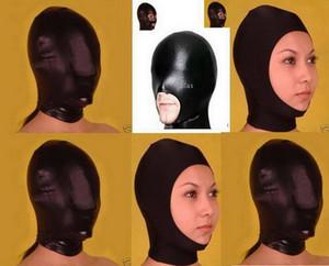 Nouveauté Halloween spandex Lycra spandex Zentai métallisé noir bouche bouche cagoule masque