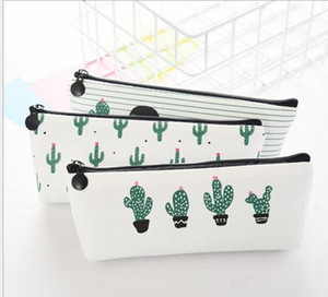 creative cactus Pencil Case Purse canvas Portable Pen Money Wallet stripe zipper Pouch Pocket Keyring Gift Kawaii pencil Bag cute design