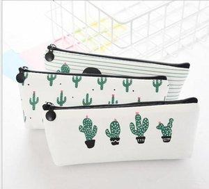 creative cactus Pencil Case Purse canvas Portable Pen Money Wallet stripe zipper Pouch Pocket Keyring Gift Kawaii pencil Bag cute design
