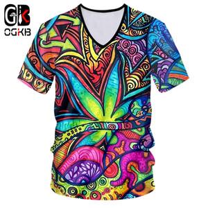 OGKB T Shirts Mann Heißer Tiefer V-ausschnitt Kurzarm Floral 3D T-shirt Druck Ölgemälde verlässt Große Größe Kostüm Für Männer T-shirt