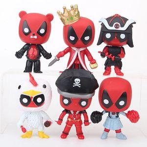 6Pcs Set POP deadpool Action Figures toys cartoon deadpool Cosplay pirate Model Decoration Dolls C4607