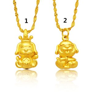 2018 New Style Female Fashion 3D Hart Gold Hohl Messing Halskette Sternzeichen Gold Hund Vietnam Cartoon Hund Anhänger Gold