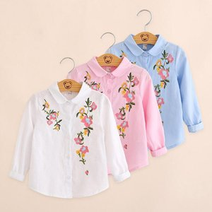 free shipping! 2018 autumn new Korean children's wear long sleeved shirt big children's cotton embroidery shirt wholesale