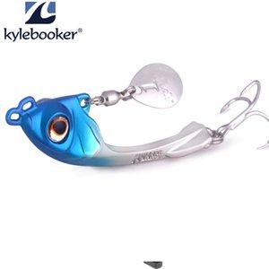 Kylebooker Fishing Lure Sep Spinner Angeln Metal Bait Saltwater GT-BIO Lure Silver Gold 7.5g 10g