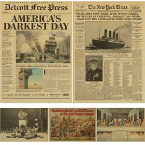 New York Times gazete afişi / Geçmiş Zaman / Kraft Eski Gazete Serisi kraft kahverengi duvar kağıdı bağbozumu posteri