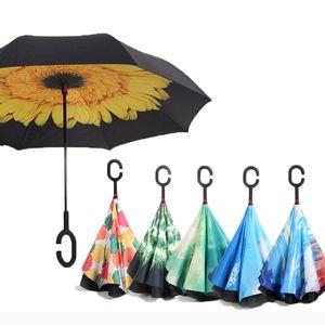 JW-YS011 / Rückwärts Regenschirme Folding Double Layer Inverted C Hand Inhaber stehen Regen Winddichtes Rollen über Regenschirm für Frauen