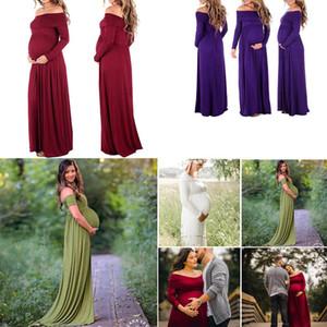 Fotoğraf Vur Kadınlar Uzun Elbise 4 renk C4258 için Hamile kadınlar Shoulderless Elbise zarif Annelik Önlük Bölünmüş Ön Fotoğrafçılık Elbise