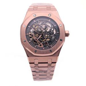 최고 등급 제한 로얄 오크 더블 밸런스 휠 Openworked 시계 스테인레스 스틸 로즈 골드 시계 41 미리 메터 블랙 다이얼 남성 손목 시계
