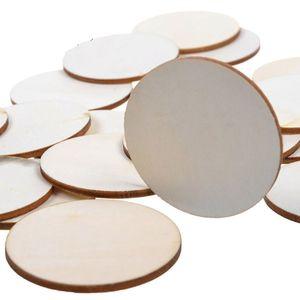 Holz Handwerk Kreise Runde Chips 32mm Mini Holz Ausschnitte Ornament Leere Scheibe DIY Malerei Tag Dekoration Holz Kunsthandwerk Großhandel