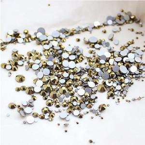 Alta qualidade 1 pacotes Mix Tamanhos Aurum / Gold Não Hotfix Flatback Strass Prego Para Unhas 3D Nail Art Decoração Gems