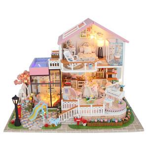 Müzik Bebek Evi Diy Minyatür 3D Ahşap Miniaturas Dollhouse Mobilya Yapı villa Kitleri Oyuncaklar Çocuklar için Noel Hediyeleri