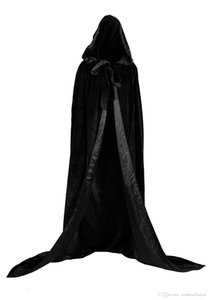 New Black And 10 Colour Lining Hooded Velvet Cloak Gothic Wicca Robe Medieval Witchcraft Larp Cape Hooded Vampire Cape Halloween Party Cloak