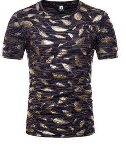 2018 summer foreign trade new European and American bronzing feather printing men's short sleeved round neck T-shirt manufacturers direct sa