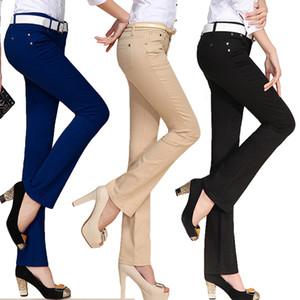 Nevettle doce cor magro Alargamento Pants Mulheres Ladies Escritório Médio cintura bolso Denim Pants Calças Pantalon Mujer