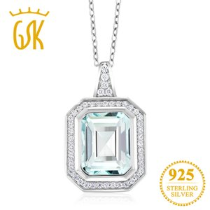 GemStoneKing Fine Jewelry 4.64 Ct Octagon Sky Blue Simulated Aquamarine 925 Sterling Silver Vintage Pendant Necklace For Women