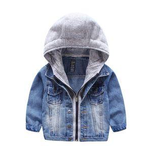 Jacket Enfant Filles Enfants Enfants Boys Patchwork Hoodies Manteau Denim À manches longues Vêtements d'extérieur Vêtements d'extérieur pour enfants 3-7 ans