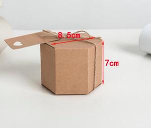 Крафт-бумага шестиугольник конфеты коробка старинные свадьба душ пользу конфеты коробки день рождения пустой пользу коробка с веревкой и тег праздничный подарок обертывание