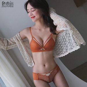 Europa Sexy Hollow Underwear Deep V Push Up Bra Set Lace Embroidery Knitting Brassiere Moda Mujeres Bra y Panty Lencería Sets